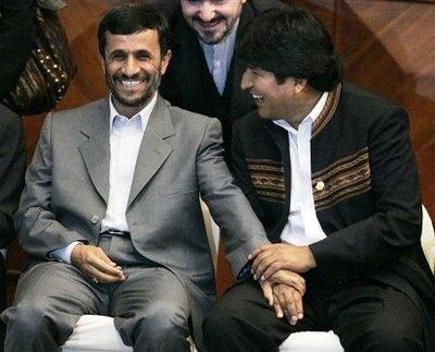 Ahmadineyad junto a Morales, dos símbolos internacionales de la homofobia.